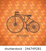 vector  old bike on a red... | Shutterstock .eps vector #246749281