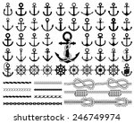 Set of anchors, rudders icons, and ropes. Vector illustration.
