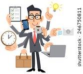 businessmen do a multi tasking | Shutterstock .eps vector #246750811