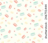 cute pattern with macaroon ...   Shutterstock .eps vector #246751444