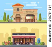 Landscape with buildings restaurant and cafe. Cityscape. Vector flat illustration | Shutterstock vector #246754519