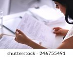woman with documents sitting on ... | Shutterstock . vector #246755491