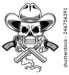 black white cowboy skull | Shutterstock .eps vector #246756391