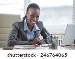 pretty cheerful african... | Shutterstock . vector #246764065