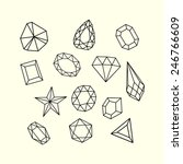 set of outlined gem stones and...   Shutterstock .eps vector #246766609