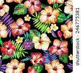seamless watercolor flowers on... | Shutterstock . vector #246775381