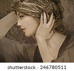 elegant lady with fantasy hat | Shutterstock . vector #246780511