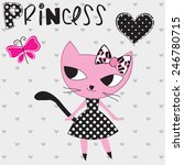 princess kitty with butterfly... | Shutterstock .eps vector #246780715