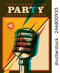 Party Poster With Retro...