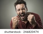 angry aggressive man shouting... | Shutterstock . vector #246820474