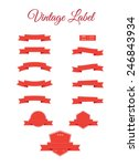 set of red vector retro ribbons ... | Shutterstock .eps vector #246843934