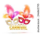 bright vector carnival masks... | Shutterstock .eps vector #246865795