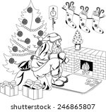 santa claus sitting by the fire ... | Shutterstock . vector #246865807