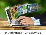businessman hand browsing... | Shutterstock . vector #246869491