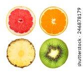 slices of grapefruit  orange ... | Shutterstock . vector #246878179
