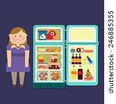 fat girl with refrigerator full ... | Shutterstock .eps vector #246885355