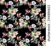 seamless pattern with wild... | Shutterstock .eps vector #246886621