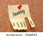 Yellow post-it note with job, career, money, credit, house seeking ad, affixed to the corkboard with red pushpin - stock photo