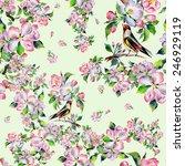 seamless pattern spring bird on ... | Shutterstock . vector #246929119