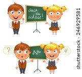 back to school. schoolboy and... | Shutterstock .eps vector #246929581