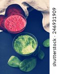 beetroot and spinach drink on a ... | Shutterstock . vector #246931909