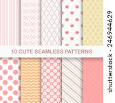Set Of 10 Cute Seamless Vector...