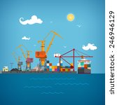 sea port  cargo cranes  load... | Shutterstock .eps vector #246946129