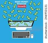 make money on blue background ... | Shutterstock .eps vector #246953131