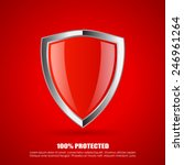 red shield protection icon | Shutterstock .eps vector #246961264