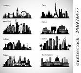 city skyline set. vector... | Shutterstock .eps vector #246976477