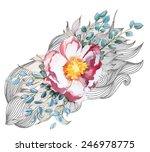 watercolor flower. rose | Shutterstock .eps vector #246978775