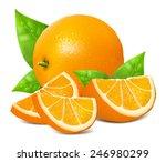 fresh ripe oranges with leaves. ... | Shutterstock .eps vector #246980299