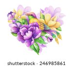romantic floral heart with... | Shutterstock . vector #246985861