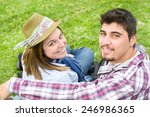 young man and young woman... | Shutterstock . vector #246986365