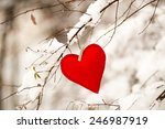Textile Red Heart On Snowy Tre...