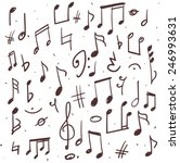 set of music notes  hand drawn...