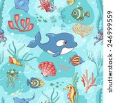 seamless pattern with killer... | Shutterstock .eps vector #246999559