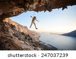 seven year old girl hanging on... | Shutterstock . vector #247037239