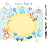 baby shower card with toys.  | Shutterstock .eps vector #247040899