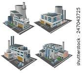 set of perspective factories ... | Shutterstock .eps vector #247043725