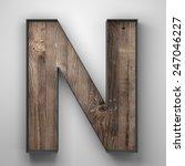 Vintage Wooden Letter N With...
