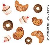 delicious buns  croissants ... | Shutterstock .eps vector #247058449