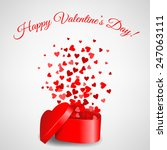 heart gift with fly hearts for... | Shutterstock . vector #247063111
