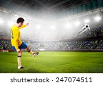 soccer or football player is... | Shutterstock . vector #247074511
