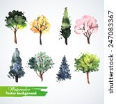 Set Of Watercolor Trees.  Hand...