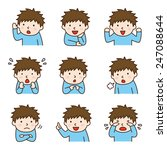 set of boy in various poses | Shutterstock .eps vector #247088644