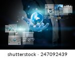 businessman holding virtual... | Shutterstock . vector #247092439