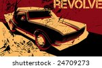 artistic poster with car.... | Shutterstock .eps vector #24709273