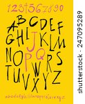 alphabet and numbers hand drawn ... | Shutterstock .eps vector #247095289