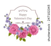 floral greeting card with roses.... | Shutterstock .eps vector #247102345